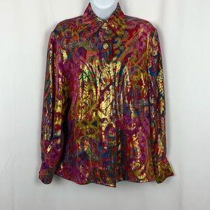 Saks Fifth Avenue Silk button front blouse 4